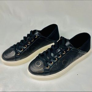 NEW - ALDO Perforated Black and Gold Sneakers